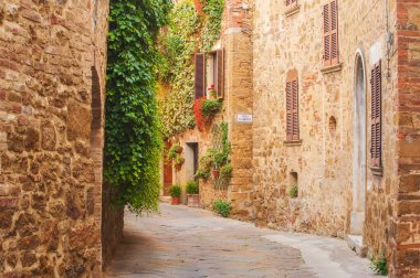 Twisted medieval streets with colorful flowers and green plants
