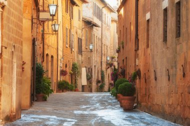 The old town and the streets of the medieval period Pienza, Italy stock vector