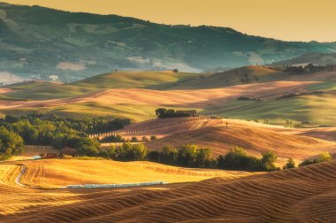 The hot light painting Val d'Orcia in Tuscany