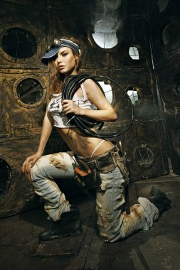 Beautiful woman - female construction worker