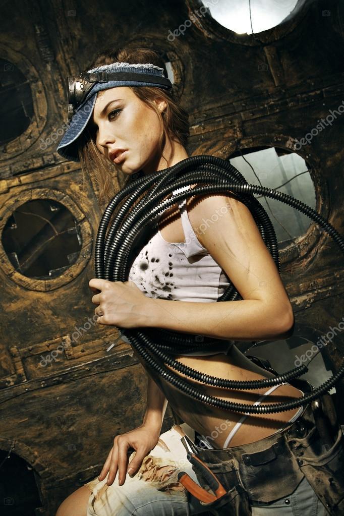 Sexy Bauarbeiterin