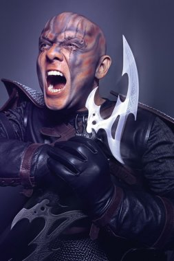 Portrait of man with double-bladed glaive