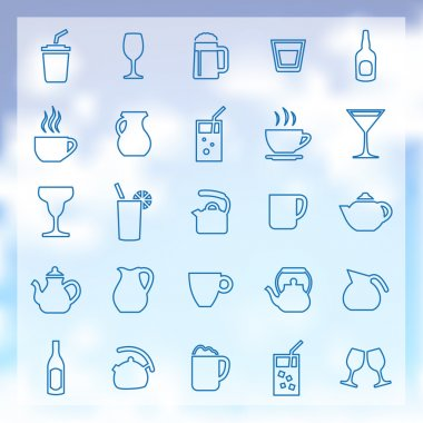 25 drinks icons set