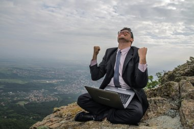 Happy Businessman Lucky Sale Concept Laptop Background