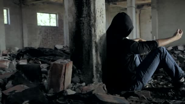 Addicted Runaway Youth in Abandoned Building HD