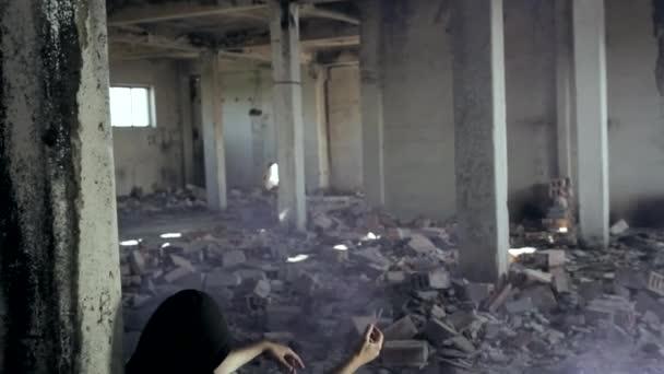 Man Abusing Drugs in Abandoned Building Smoke Crane Shot HD