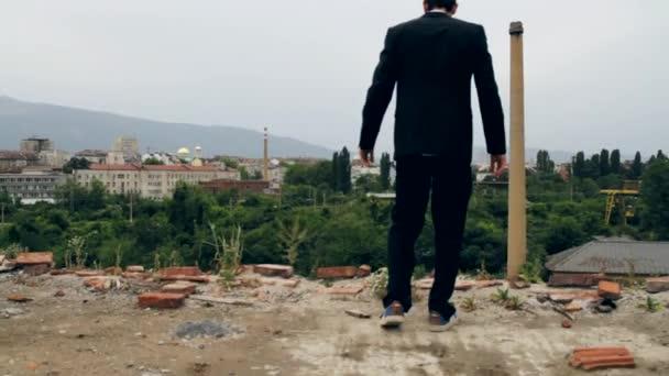 Business Risk as Businessman Walks toward Risk Concept HD