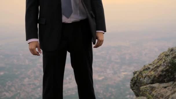 Business City Happy Face Businessman Top Hands Up Success