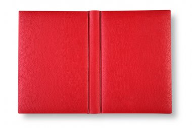 Red leather book cover with spin.
