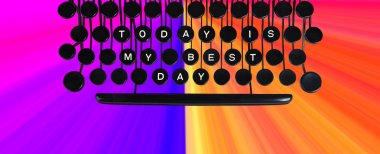 Today is my best day spelled on a vintage keyboard on rainbow background stock vector