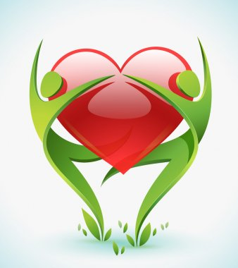 Two green figures dance as they embrace a red heart.
