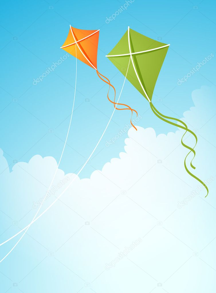 Vector illustration with two kites in the sky