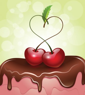 Heart-Shaped Cherries on top of chocolate covered cake