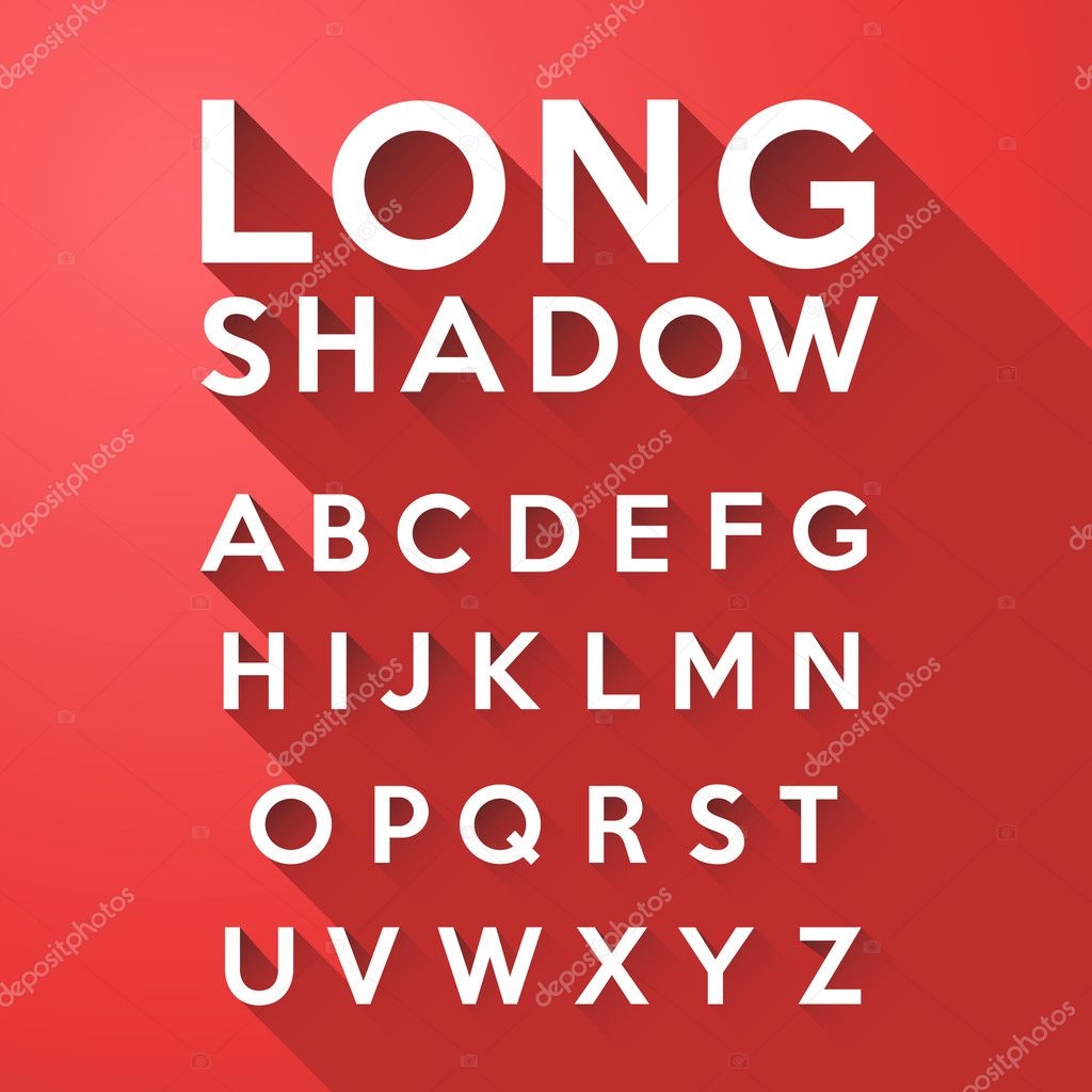 Long flat shadow alphabet on red background