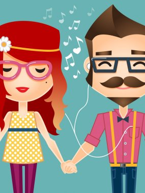 Hipster couple holding hands and listening to music
