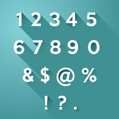 Vector set of numbers and signs with long flat shadow