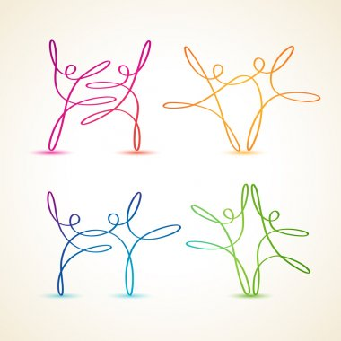 Colorful swirly line dancing figures set clip art vector