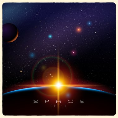Detailed vector illustration of Earth sunrise and space