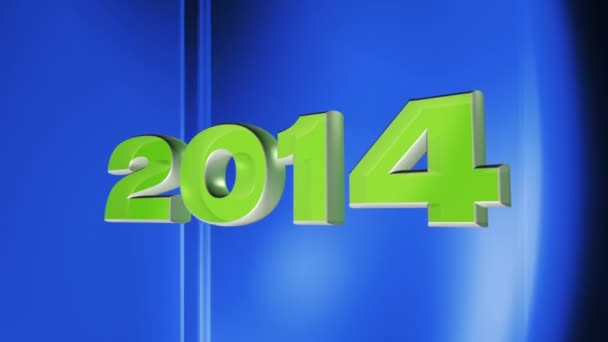 2014 happy new year, 3d loop animation of date 2014 on blue abstract background