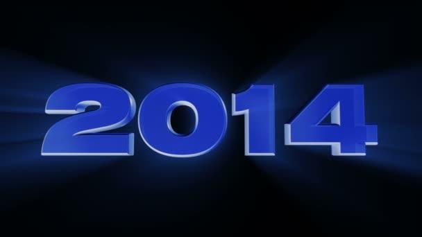 šťastný nový rok 2014, smyčky animace 3d datum 2014 s paprsky světla