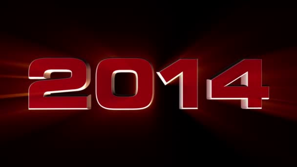 2014 happy new year, 3d red animation