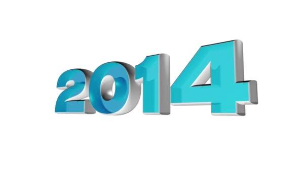 2014 nový rok, animace 3d smyčky datum 2014