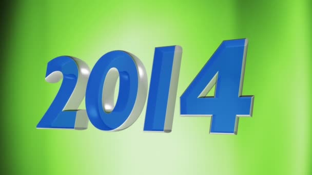 2014 happy new year, 3d animation of date 2014 on green loop background