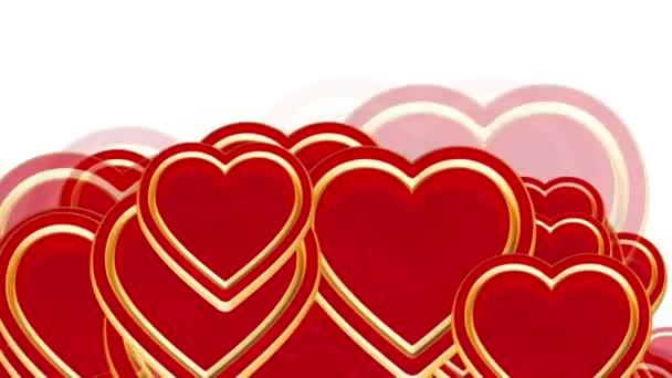 létající láska srdce, svatební pozadí animace, den svatého Valentýna, alfa matný