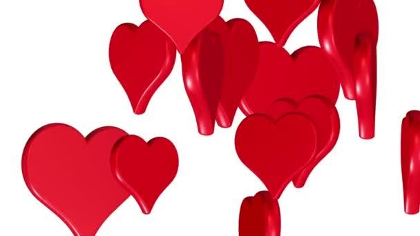 fliegende Herzen, Hochzeitshintergrund, Valentinstag, rote Liebesherzen, Alphamaterial