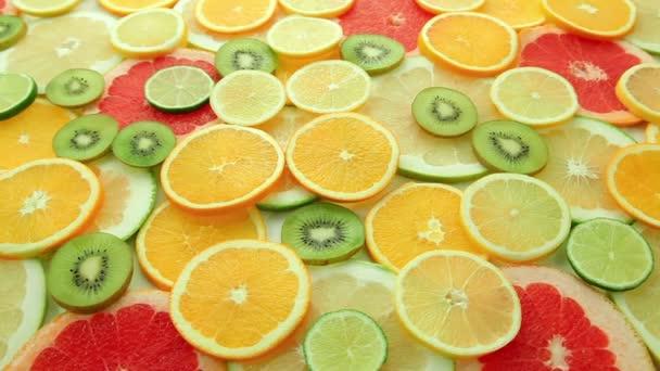 Fruits: oranges, kiwis, grapefruits, lemons, limes, pomelos