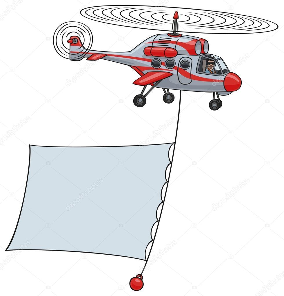 Elicottero 450 : Elicottero con banner u2014 vettoriali stock © strelkov #45099791