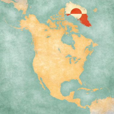 Map of North America - Greenland (Vintage Series)