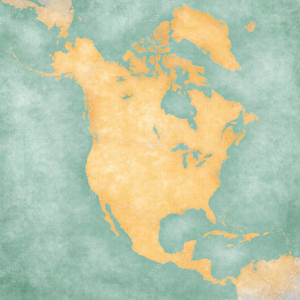 Map Of North America Blank Map Vintage Series  Stock Photo - Download map of north america