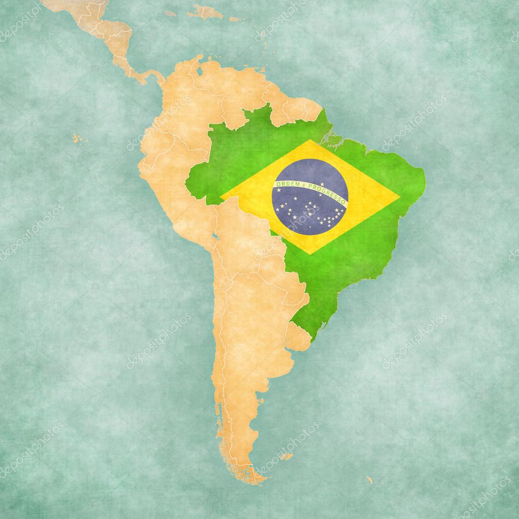 Map Of South America Brazil Vintage Series  Stock Photo - South america map and flags