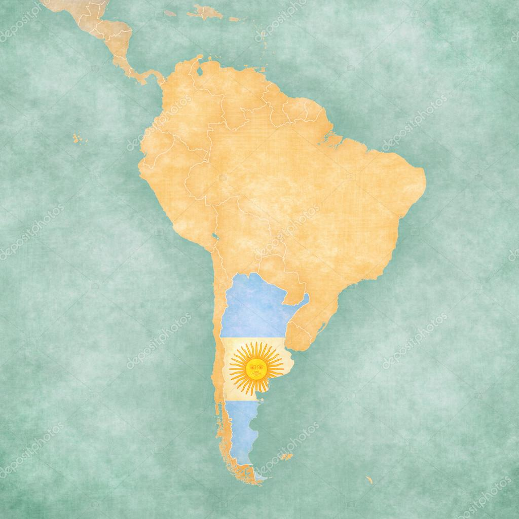 Map Of South America Argentina Vintage Series Stock Photo - Argentina map vintage