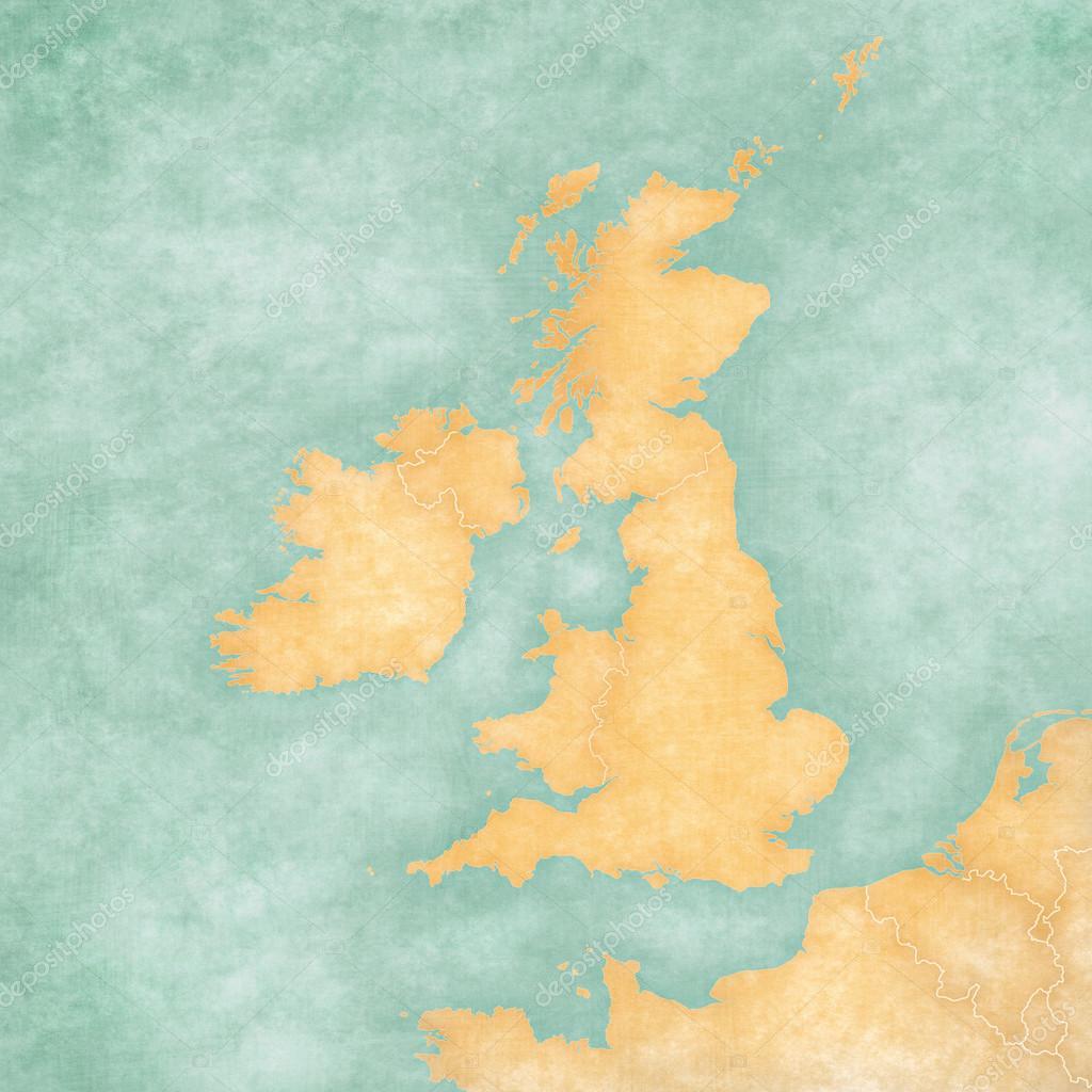 Map of British Isles - Blank Map (Vintage Series) — Stockfoto ...