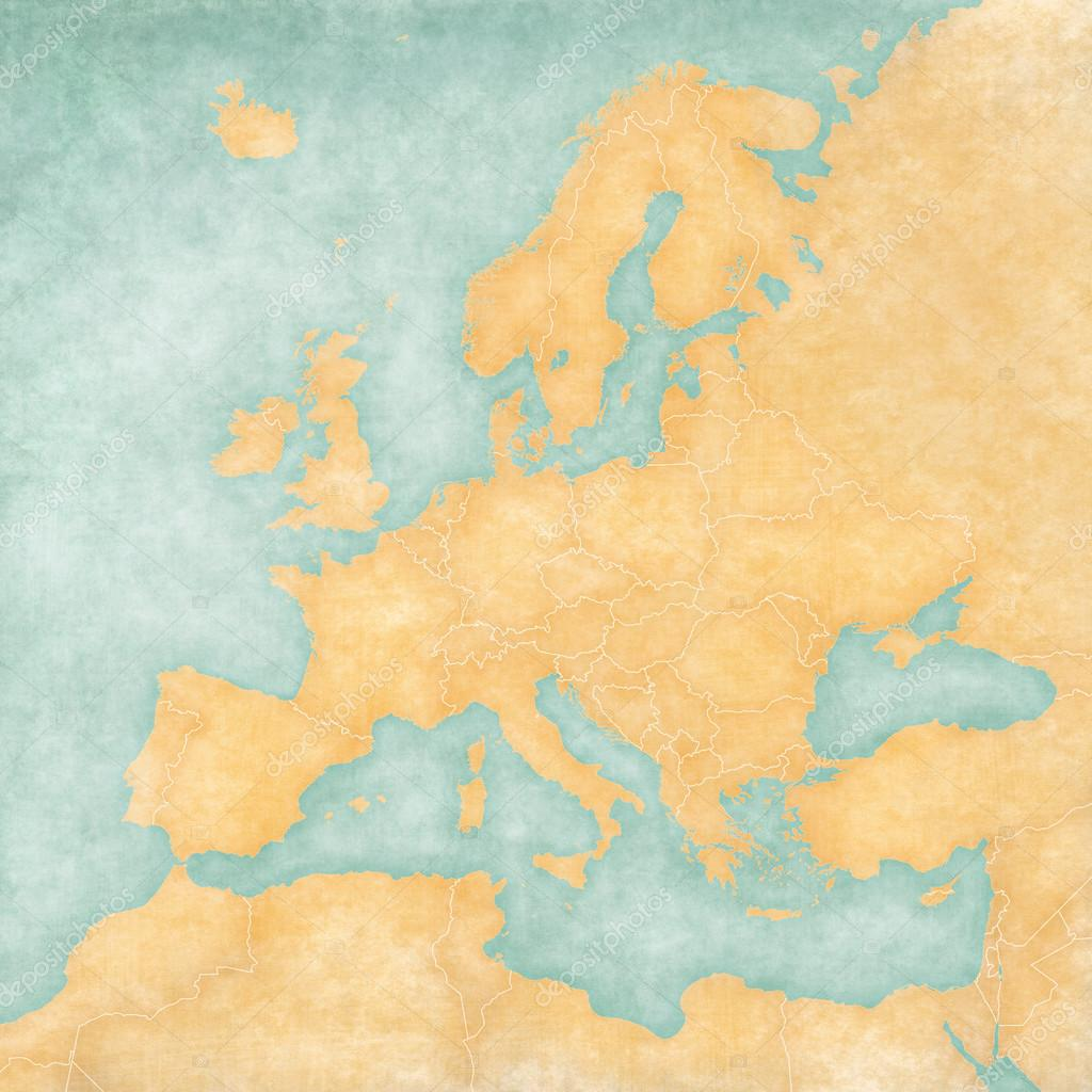 Blank Map Of Europe The Is In Vintage Summer Style And Sunny Mood Has A Soft Grunge Atmosphere Which Acts As Watercolor Painting