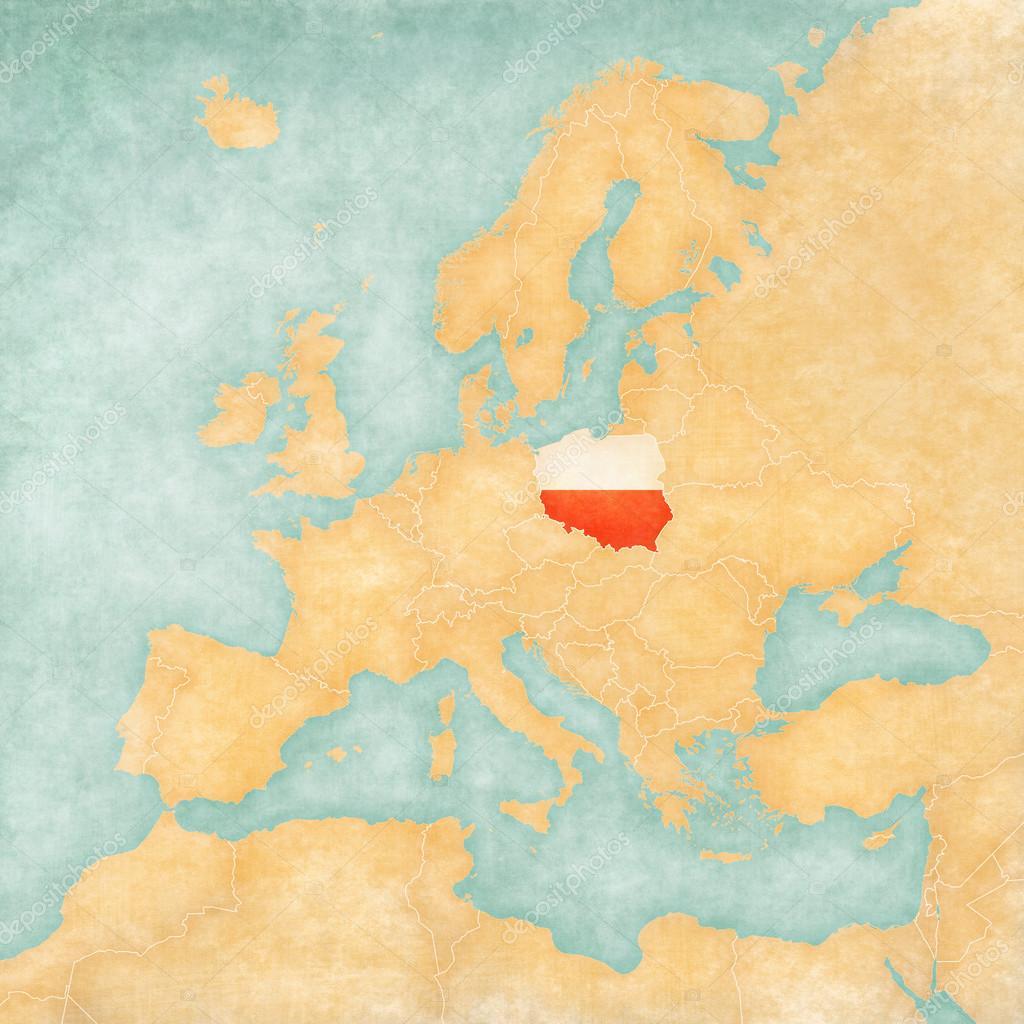 Map Of Europe Poland Vintage Series Stock Photo C Tindo 50478931