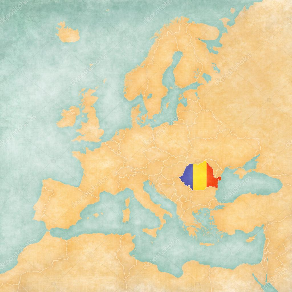 Map of Europe - Romania (Vintage Series) — Stock Photo © Tindo #50478973