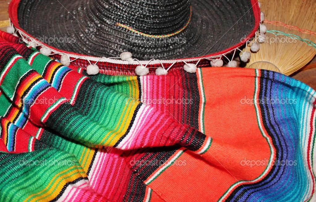 Cinco de mayo Mexican background sombrero poncho serape