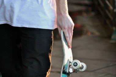 Skateboard close up in skate park with graffiti