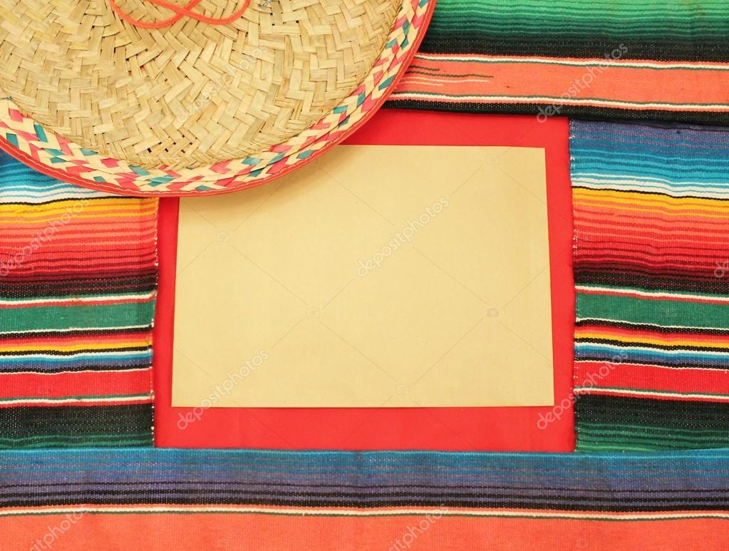 Mexico Fiesta Cinco De Mayo Poncho Rug In Bright Stripe Background With Copy Space Stock
