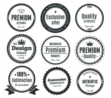 Nine Scalable Badges in vintage style. Premium, authentic, high quality, guarantee stickers. clip art vector