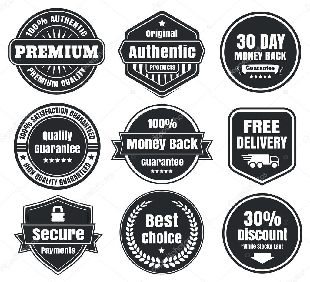 Nine scalable vector old school vintage ecommerce badges in light and dark colors 100 percent authentic original premium free shipping