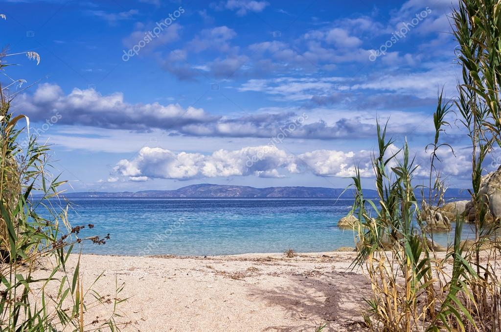 Sandy little beach in Sithonia, Chalkidiki, Greece, like a paradise
