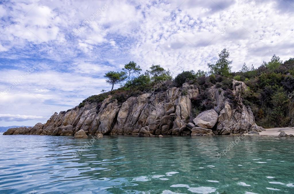 Rocky coast in Sithonia, Chalkidiki, Greece