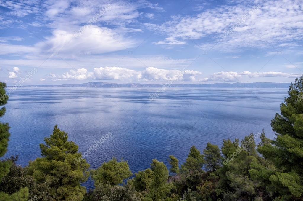 Amazing view from top of a hill down to the sea, in Sithonia, Chalkidiki, Greece