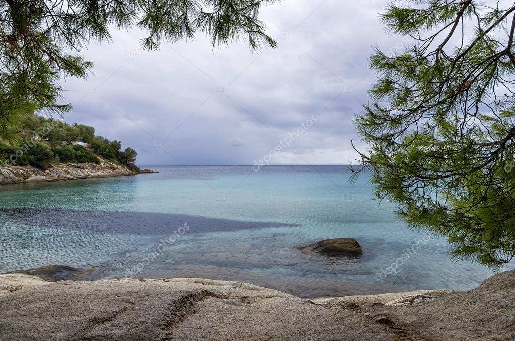 View to the sea on an overcast autumn day, in Sithonia, Chalkidiki, Greece