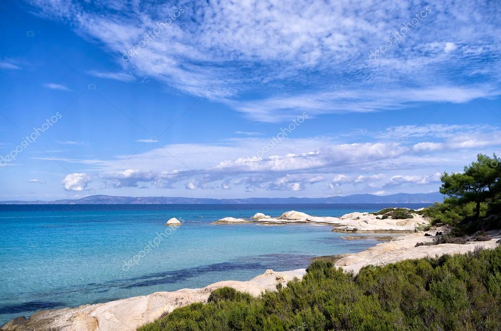 Rocky coast with exotic water and little sandy gulfs, in Sithonia, Chalkidiki, Greece