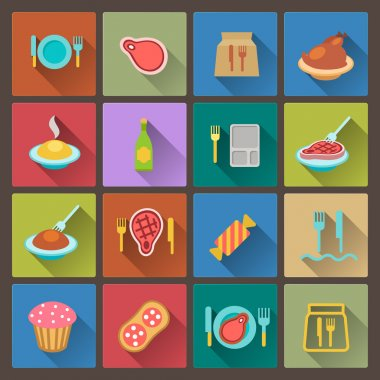 set of food icons in flat design style